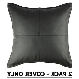 Cotton Craft - 2 Pack Genuine Leather Pillow Cover 17x17 - B