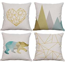 Set of 4 Geometric Decorative Throw Pillow Covers Cotton Lin