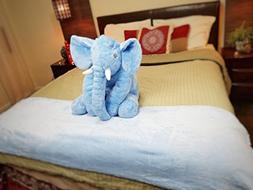 Giant Elephant Stuffed Animal and Adult Size Throw Blanket P