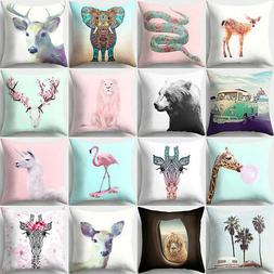Giraffes Goat Pattern Throw Pillow Case Waist Cushion Cover