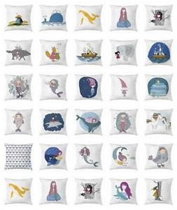 Girls Cartoon Throw Pillow Cases Cushion Covers by Ambesonne