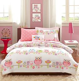 Girls OWL Bedding Queen Pink White Blue Green Purple Orange