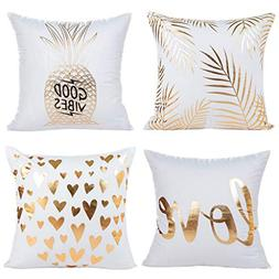 Youngnet Gold Bronzing Flannel Throw Pillow Covers 18x18 inc
