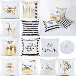 Gold Letters Printed Polyester Throw Pillow Case Square Cush