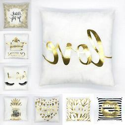 Gold Shining Linen Waist Throw Pillow Case Vintage Sofa Cush