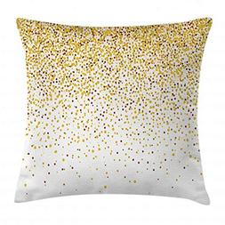 Gold and White Throw Pillow Cushion Cover by Ambesonne, Part