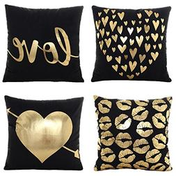 "WOMHOPE 4 Pcs - 17"" Black & Golden Hot Stamping Super Soft S"