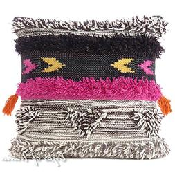 "Eyes of India 20"" Gray Pink Colorful Decorative Woven Tufted"