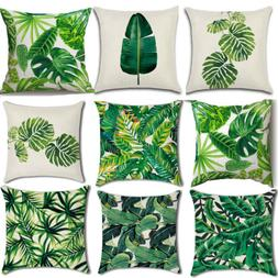 Green Leaves Cotton Linen Cushion Cover Waist Throw Pillows