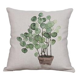 Green Plant Decorative Throw Pillow Covers Cotton Linen Squa