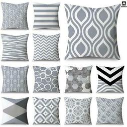 Grey Patterns Throw Pillow Cover