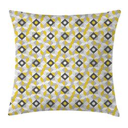 Ambesonne Grey and Yellow Throw Pillow Cushion Cover, Geomet