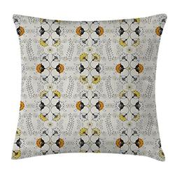 Ambesonne Grey and Yellow Throw Pillow Cushion Cover, Ethnic