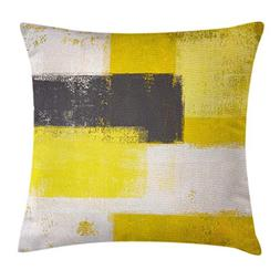 Ambesonne Grey and Yellow Throw Pillow Cushion Cover, Abstra