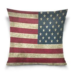 SUABO Grunge American Flag Cotton Velvet Throw Pillow Case C