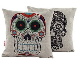 halloween skulls pattern decorative pillowcase