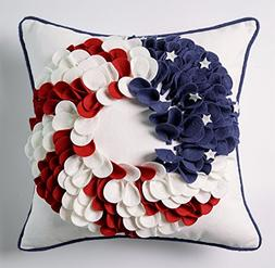 Hand Crafted 3D Applique American Flag Wreath Decorative Thr