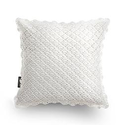 PHANTOSCOPE Decorative Handmade Crochet Trimmed Throw Pillow