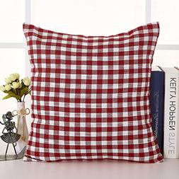Deconovo Handmade Faux Linen Red and White Checkered Cushion