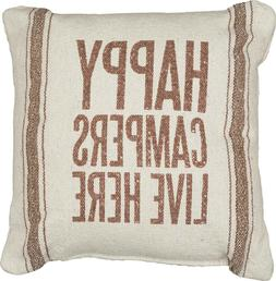 Primitives by Kathy Happy Campers 3-Stripes Pillow, 10-Inch