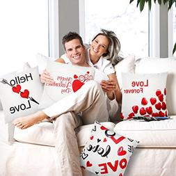 Set of 4 Happy Valentine's Day Throw Pillow Covers Holiday T