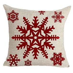 Happy winter red snowflake Merry Christmas Throw Pillow Cove