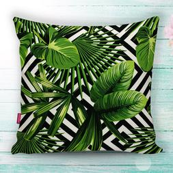 Hawaiian Tropical Palm Tree Leaves Throw Pillow Case Cushion