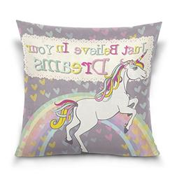 ALAZA Heart Love Rainbow Unicorn Cotton Pillowcase 16 X 16 I
