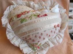 Heart Shaped Victorian Style Striped Peach/Pink Throw Pillow