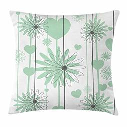 Lunarable Hearts Throw Pillow Cushion Cover, Floral Abstract