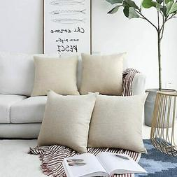 Home Brilliant Decorative Throw Pillow Covers Lined Linen Sq