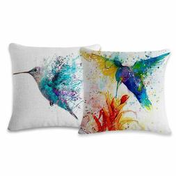 Home Cotton Linen Throw Two Pillow Cases Ink Hummingbird Pan