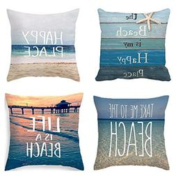 PSDWETS Home Decor the Beach is My Happy Place Pillow Covers