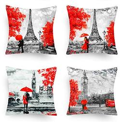 AZSMILE Home Decor Throw Pillow Covers Black & Red Color Eif