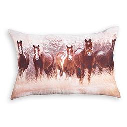 Horses in Winter Western Accent Throw Pillow