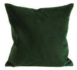 Hunter Green Cotton Velvet Decorative Throw Pillow Cover - 1
