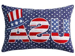 Independence Day USA Chain Embroidery Decorative Throw Pillo