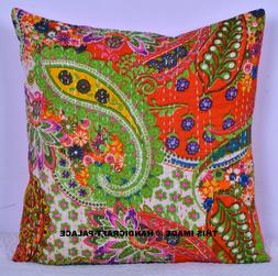 Indian Kantha Paisley Cushion Cover Ethnic Pillows 16X16 Dec
