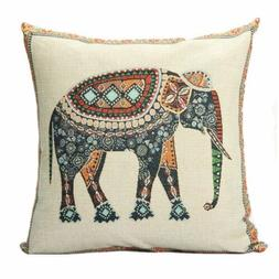SODIAL Indian Knitted Elephant Cotton Linen Throw Pillow Cas