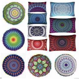 indian mandala print floor pillow throw case