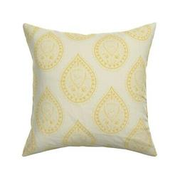 Indian Paisley Yellow Modern Throw Pillow Cover w Optional I