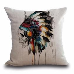 Witty Novelty Indian Skull Pillow, super soft material