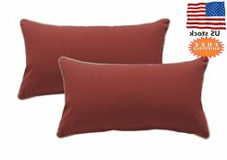 Bossima Indoor/Outdoor Red Rectangle Toss Pillow, Corded Cus