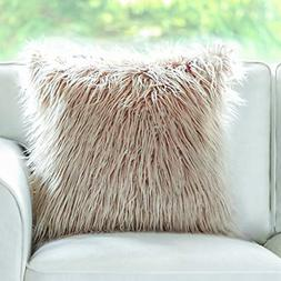 insert included throw pillows beige faux fur