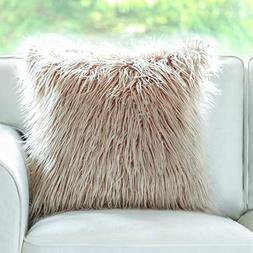 Phantoscope Insert Included Throw Pillows Beige Faux Fur Cus