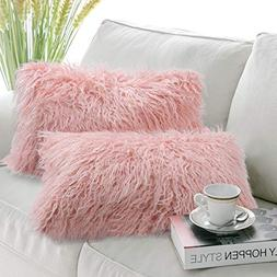Phantoscope Set of 2 Insert Included Throw Pillows Pink Faux