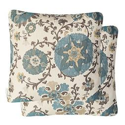 Mika Home Pack of 2 Jacquard Circle Floral Throw Pillow Shel