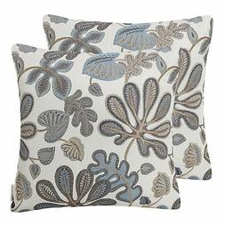 Mika Home Set of 2 Jacquard Tropical Leaf Pattern Throw Pill