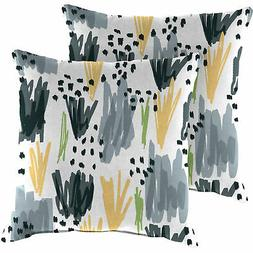 Jordan Outdoor 20in Square Throw Pillows- Set of 2 Spun Poly