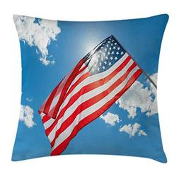 4th of July Decor Throw Pillow Cushion Cover by Ambesonne, T